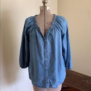 Soft Joie Chambray Tunic Blouse